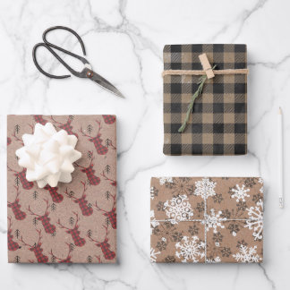 Modern Rustic Kraft Black White Red Christmas Gift Wrapping Paper Sheets