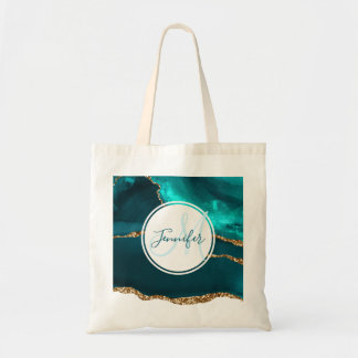 Modern Teal & Gold Agate Abstract Monogram Tote Bag