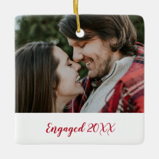 Modern Two Photo Thick Red Script Year Engaged Ceramic Ornament