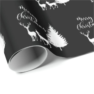 """Modern White Script """"Merry Christmas"""" and Deer Wrapping Paper"""