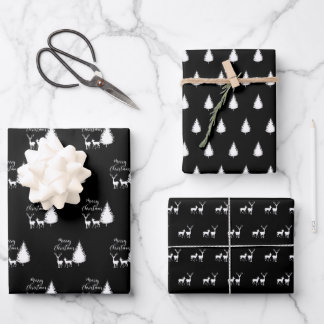 """Modern White Script """"Merry Christmas"""" and Deer Wrapping Paper Sheets"""