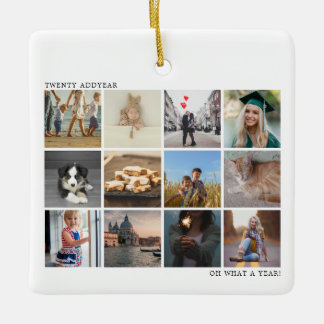 Modern White Year in Review Twelve Photo Collage Ceramic Ornament