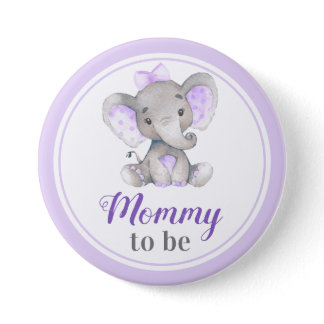 Mommy to be Baby Girl Elephant Shower New Mother Button