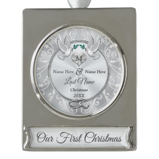 Monogram Personalized Our 1st Christmas Together Silver Plated Banner Ornament