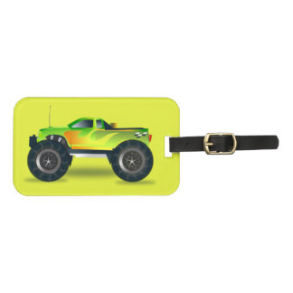 Monster truck on lime green luggage tag