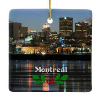 Montreal Skyline with Christmas holly Ceramic Ornament