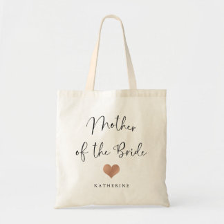 Mother of the Bride   Trendy Script and Heart Tote Bag