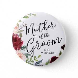 Mother of the Groom   Burgundy Bouquet Wedding Button