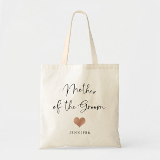Mother of the Groom   Trendy Script and Heart Tote Bag