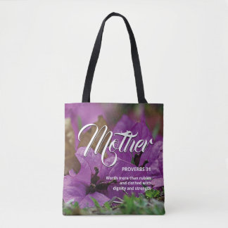MOTHER'S DAY Christian Proverbs 31 Purple Floral Tote Bag