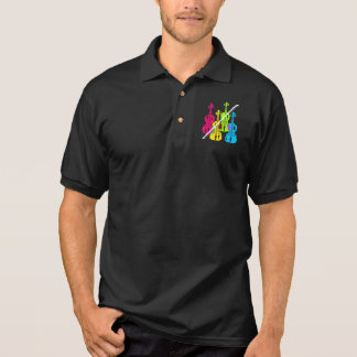 Multicolored Violins Birthday Gift For Musicians Polo Shirt