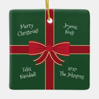 Multiple Language Merry Christmas Red and Green Ceramic Ornament