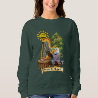 Music To The Soul Eagle Playing Musical Harp Sweatshirt