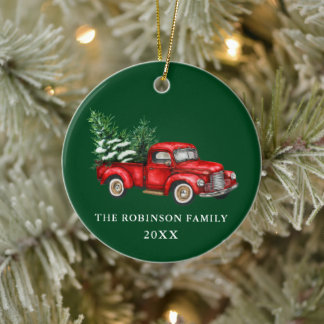 Name Year Watercolor Vintage Red Truck Trees Green Ceramic Ornament