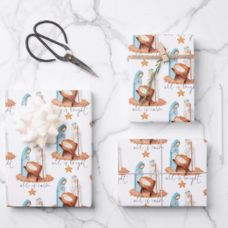Nativity Scene All Is Calm Script Christmas Wrapping Paper Sheets