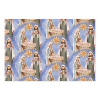 Nativity Stable Scene Pattern Holiday Wrapping Paper Sheets