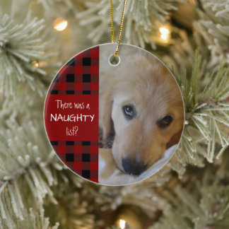 Naughty or Nice Pet Photo Red Plaid Personalized Ceramic Ornament