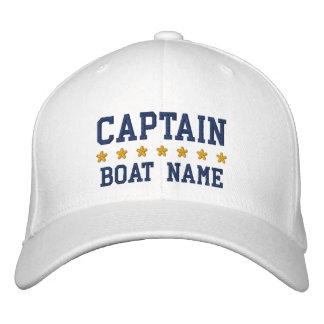 Nautical Captain Your Boat Name Navy Blue White Embroidered Baseball Cap