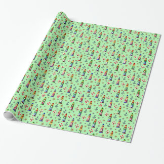 Nautical Christmas Lighthouses on Green Background Wrapping Paper