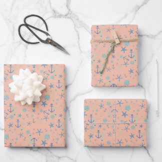 Nautical Fantasy - Peach Wrapping Paper Sheets