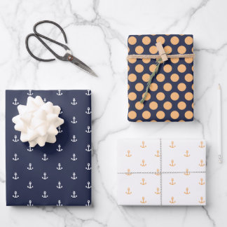 Nautical Navy and Orange Wrapping Paper Sheets