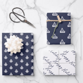 Nautical Navy and White Wrapping Paper Sheets