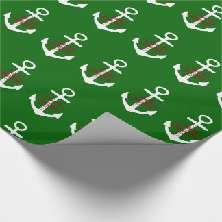 Nautical Red and White Merry Christmas Anchors Wrapping Paper
