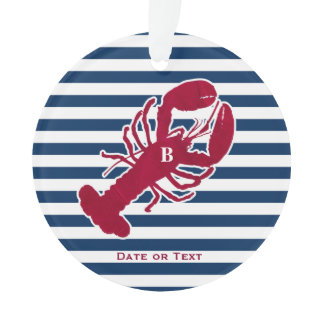 Nautical Red Lobster Monogram Striped Christmas Ornament