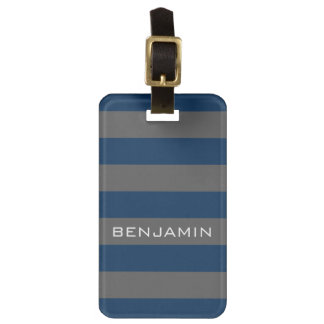 Navy Blue and Gray Rugby Stripes with Custom Name Luggage Tag