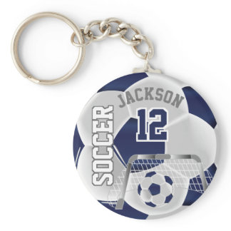 Navy Blue and White Soccer ⚽ Ball  Sport Keychain