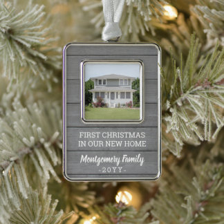 New Home Picture Housewarming Faux Gray Wood First Christmas Ornament