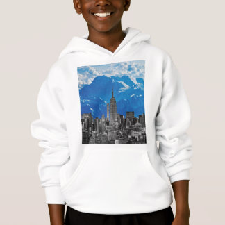 New York Manhattan Skyscrapers with Blue Mountain Hoodie