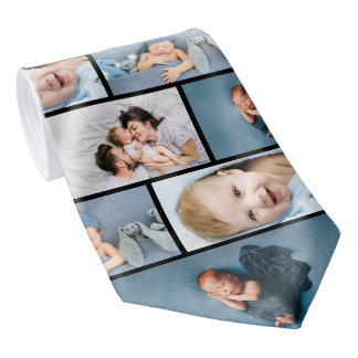 Newborn Father's Day Gift Family Photo Collage Neck Tie