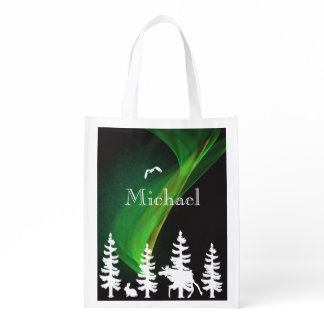 Nordic forest in white and black  northern lights grocery bag