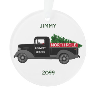 North Pole Delivery Truck - Merry Christmas Ornament