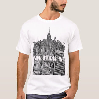 NYC Etched Look Skyline From Above T-Shirt