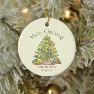 Old Fashioned Christmas Personalized Ceramic Ornament