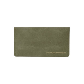 Olive Green Gold Personalized Checkbook Cover