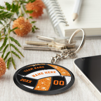 Orange and Black Volleyball Gifts for Players Keychain