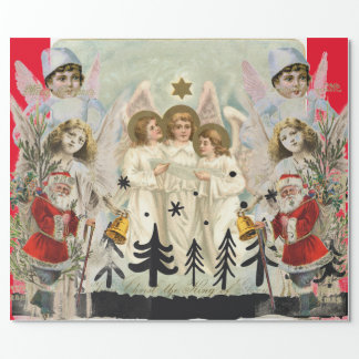 Original Collage Christmas Angel Wrapping Paper