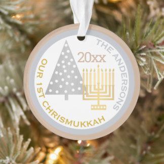Our 1st Chrismukkah Chic Keepsake Holiday Photo Ornament
