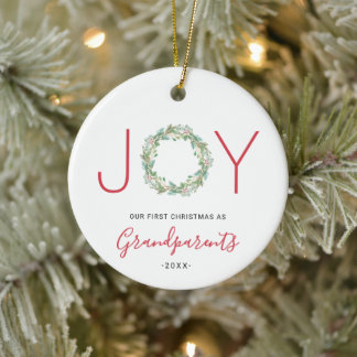 Our First Christmas as Grandparents Joy Wreath Ceramic Ornament
