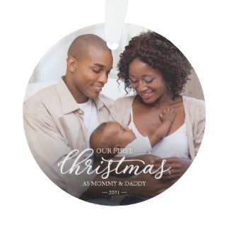 Our First Christmas as Mom and Dad Family Photo Ornament
