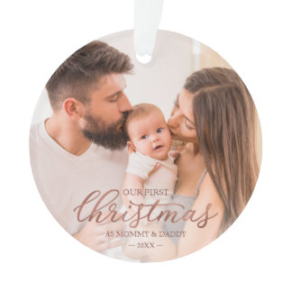 Our First Christmas as Mom and Dad Rose Gold Foil Ornament