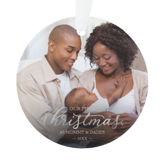 Our First Christmas as Mom and Dad Silver Foil Ornament