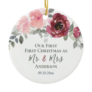 Our First Christmas as Mr & Mrs Elegant Floral Ceramic Ornament