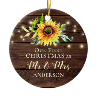 Our First Christmas as Mr & Mrs Sunflower Wood Ceramic Ornament