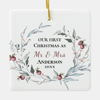Our First Christmas as Mr & Mrs Winter Wedding Ceramic Ornament