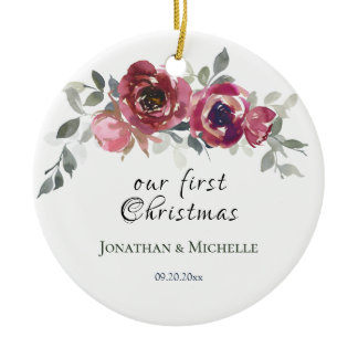 Our First Christmas Christian Floral Wedding Ceramic Ornament