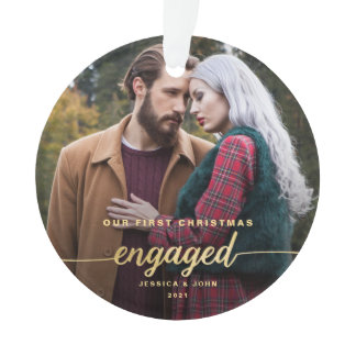 Our First Christmas Engaged 2 Photo Gold Font Ornament